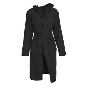 Hooded Wide Lapel Coat Tie Front Pockets Black